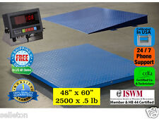 """New 2500 lb x .5 lb 5'x4' (60"""" x 48"""") Floor Scale / Pallet Scale with Ramp"""