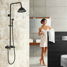"""Wall Mounted 8"""" Rainfall Shower System Tub Tap with Hand Spray Oil Rubbed Bronze"""
