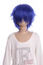 W-01-F11-1 blau blue 35cm kurz COSPLAY Perücke WIG Perruque Haare Anime Manga