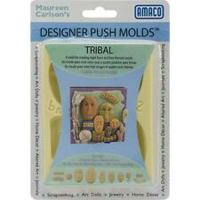 "AMACO Designer Silicone Push Mold ""TRIBAL"" Faces &  Words - JEWELRY ART DOLLS +"