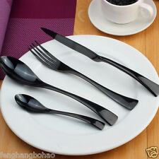 Stainless Steel Dinnerware 32 Piece Black Cutlery Set Knives Fork Spoon Teaspoon