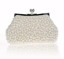 WOMENS HAND BEADED PEARL BEAD CLUTCH BAG WEDDING BRIDE BRIDAL BLACK OFF WHITE