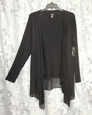 BLACK OPEN DRAPE FRONT STRETCHY KNIT CHIFFON CARDIGAN JACKET SWEATER TOP~2X~NEW
