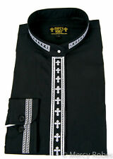 Women's Clergy Neckband Shirt, Long Sleeve, Embroidered Cross, 5 Color Choices