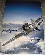 WWII Luftwaffe Fw 190A-8/R-8 attacking B-24j Liberators Large Postcard