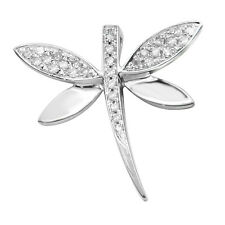 SMALL 14K WHITE GOLD NATURAL PAVE DIAMOND DRAGONFLY PENDANT CHARM NECKLACE
