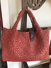 STUNNING FALOR Firenze Woven persimmon  Leather  Tote  Handbag  NWT MUST SEE