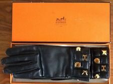 HERMES Black Leather Gloves size 7
