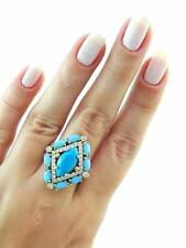 Turkish Handmade 925 Sterling Silver Jewelry Created Turquoise Ring Size 9 R2338