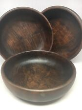 "Set of 3 OLIVE WOOD SALAD / FRUIT BOWL 5.75"" Handcrafted in Spain"