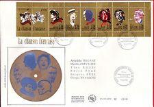 FDC ENVELOPPE 1er JOUR SUR SOIE   GRAND FORMAT 1990 CARNET  PERSONNAGES CHANSON