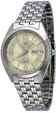 Orient FAB0000EC Men's 3 Star Stainless Steel Gold Dial Date Automatic Watch