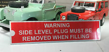 Land Rover Series 1 2 Gearbox Oil Warning Information Plate Plaque Quality Repro
