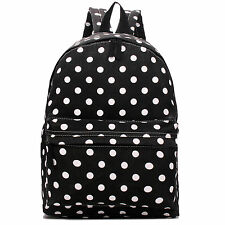Women Girls Canvas Fashion Backpack Large School Bag Handbag Polka Dot Black