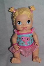"Hasbro Baby Alive Doll 2012 Yummy Treats Doll Blonde with Pink Bows- 14"" tall"