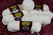 6+ Lion Brand Chenille Thick & Quick Yarn ANTIQUE WHITE - 2 1/2 Pounds