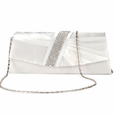 Satin Diamante Pleated Women Bag Evening Prom Clutch Purse Bridal Handbag