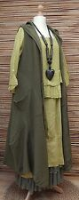 LAGENLOOK AMAZING BOHO 4 PCS DRESS+TOP+CARDIGAN+PETTICOAT*KHAKI GREEN/OLIVE*L-XL