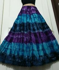 Ladies Cotton Tie&Dye Skirt Crochet&Lace Boho Purple/Blue 5 tier Ethnic 14-22