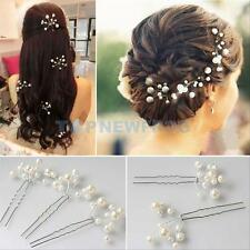 6x Wedding Bridal Pearl Crystal Hair Pins Hair Clips Bridesmaid Hair Accessories