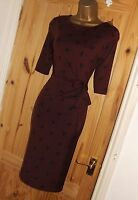Stretchy wine black swallow print vintage 40s 50s pencil wiggle wrap dress sz 12