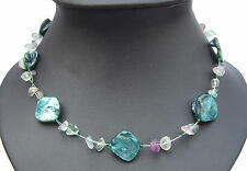 Jade green shell and purple and green fluorite necklace