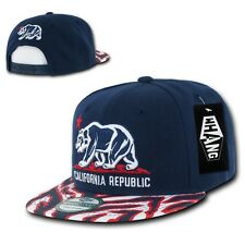 Navy & Red California Republic Cali Zebra Print Flat Snapback Snap Back Cap Hat