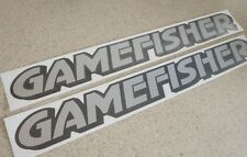 """GameFisher Vintage Boat Decals 12"""" Silver 2-PAK FREE SHIP + FREE Fish Decal!"""