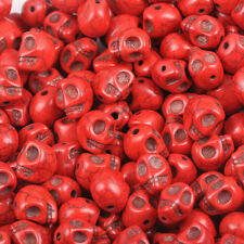 30Pcs Red Turquoise Carved Skull Head Howlite Spacer Loose Beads DIY 9x7.5cm