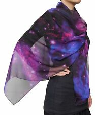 Hand Made Beautiful Nebula Galaxy little Twinkle Stars Chiffon Scarf Purple