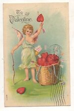 """To My Valentine"" Cupid with Bow and Arrows, Hearts Valentine's Day Vtg Postcard"