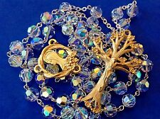 Custom SWAROVSKI Crystal Rosary Gold Plated Dogwood Tree Hand Crafted 8mm