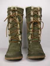UGG Australian Whitley 5230 Green Sheepskin Fur Lined Lace Up Mid Calf Boot Sz 7