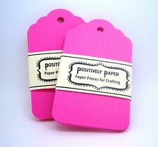 50 Blank Scallop Gift Hang Tags - Hot Pink - Bright Cardstock Birthday Crafts