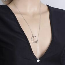 Fashion Dainty Simple Silver Crecent Moon Charm Star Drop Lariat Y necklace