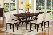 Casual Dinette 7pc Modern Set Unique Table Cream Faux Leather Chairs Dining room