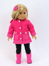 "Pink polka dot rain coat outfit 5pc 18"" doll clothing fits American Girl"