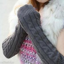 Korean Arm Warmer Fingerless Long Gray Gloves Leisure Knitting Wool Mittens