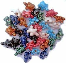 35 Peruvian 22 mm CERAMIC CLAY TURTLE BEADS, 7 Colors