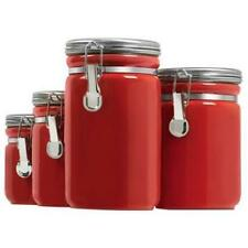 Anchor Hocking 03923red 4pc Red Ceramic Canister Set