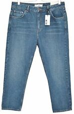 NEW Topshop SKINNY MILO High Waisted RIGID Blue Crop Jeans Size 16 W34 L30