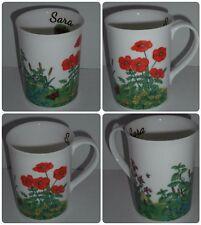 Bn personnalisé meadow coquelicots tasse, porcelaine, décoré à la main coffret floral mug