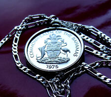 """1975 BAHAMAS MARLIN COAT OF ARMS  Pendant on a 30"""" 925 STERLING Silver Chain"""