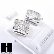 Iced Out Sterling Silver .925 Lab Diamond 8mm Square Screw Back Earring SE021S