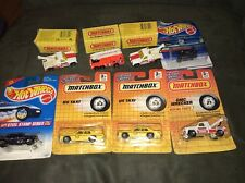 MATCHBOX & HOTWHEEL TAXI TOW TRUCK FIRE ENGINE GO CART LOT OF 8