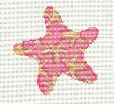 Starfish in Pink handpainted Needlepoint Canvas & STITCH GUIDE by Assoc.Talents