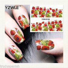 Nail Art Water Decals Full Wraps Remembrance Poppy Armistice Day Flowers (8159)