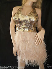 NWT bebe isis S small gold sequin halter mesh back deep v neck top dress club