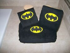 Personalized 3 Piece Bath Towel Set Super Hero Batman Logo