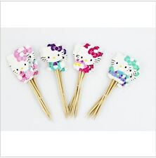 24pcs Lovely Hello Kitty Cup Cake Topper Pick Sweet Party Supplies Birthday